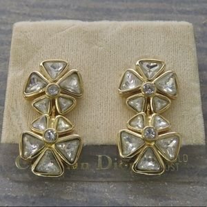 Authentic Christian Dior 14k Post Crystal Earrings